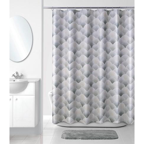 J Wave Shower Curtain Gray