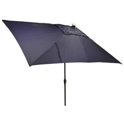 6.5' x 10' Rectangular Solar Patio Umbrella Navy - Black Pole - Threshold™