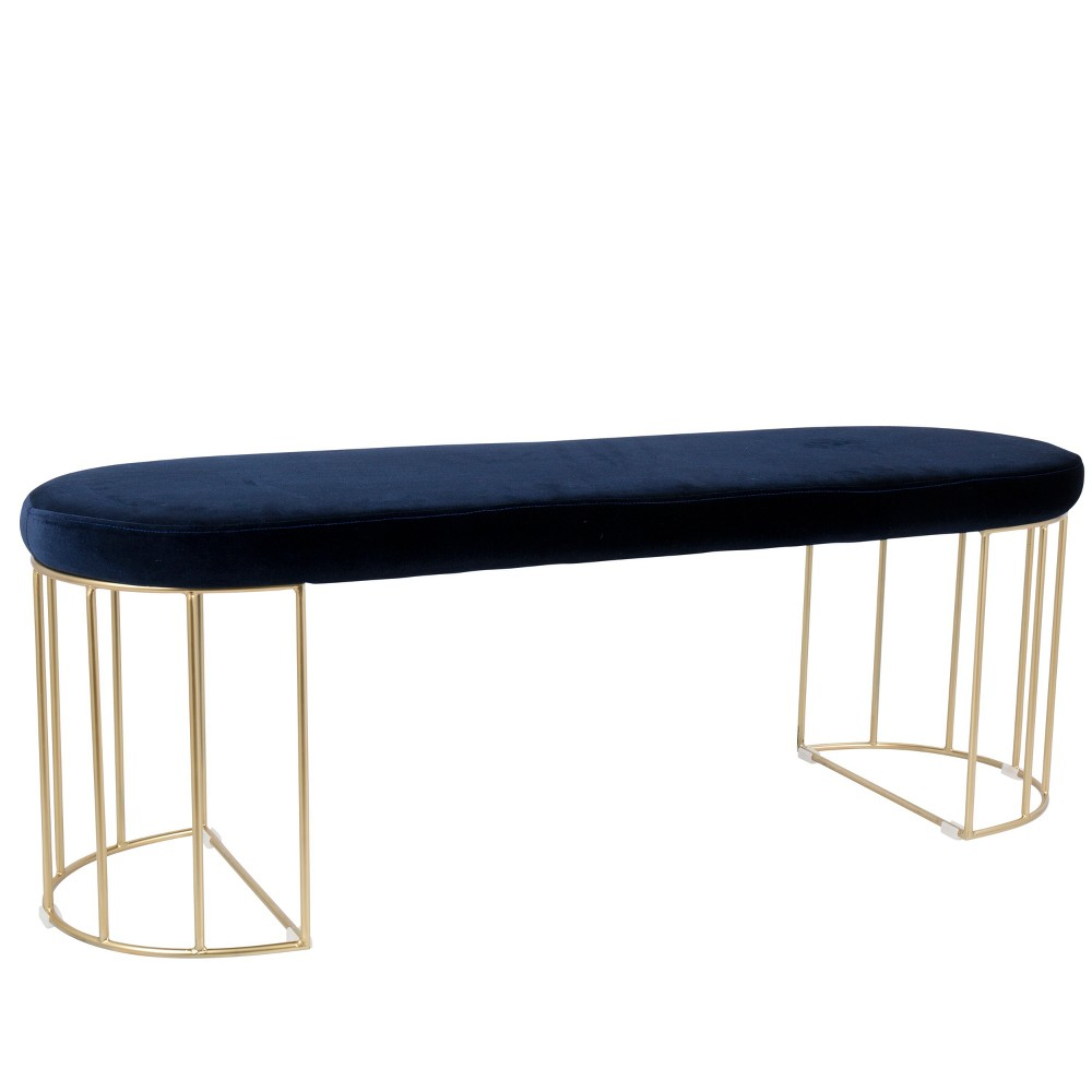 Lumisource Canary Contemporary Dining Entryway Bench Blue