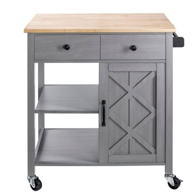 """34"""" Kitchen Cart with Wood Top Gray - Home Essentials"""