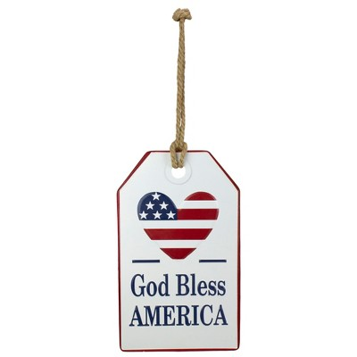 """Darice 12"""" Red, White and Blue God Bless America Wall Sign"""