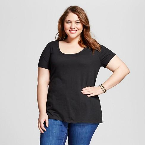 8b6ae6e015b Women s Plus Size Scoop Neck T-Shirt - Ava   Viv™   Target