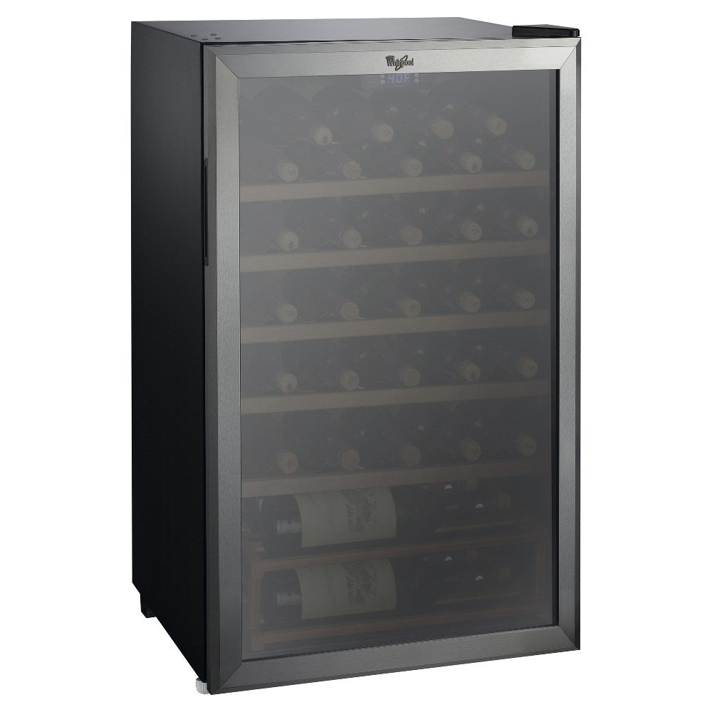 Whirlpool 35 Bottle 3.6 Cu. Ft Wine Fridge-Stainless Steel-JC-103EZ, Black