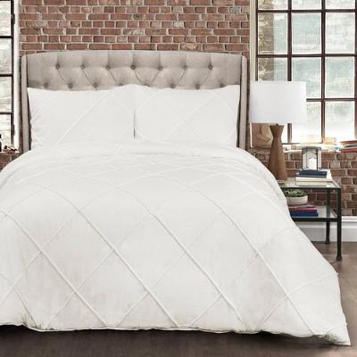Full/Queen Diamond Pom Pom Comforter Set White - Lush Décor