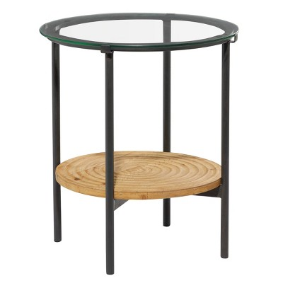 Rustic Wood and Glass Tiered Side Table Brown - Olivia & May