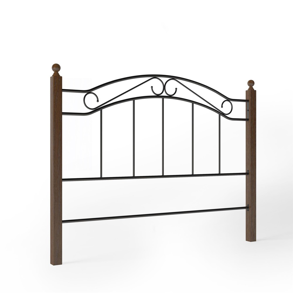 Full/Queen Cooper Wood and Metal Headboard Black Walnut - Dorel Living