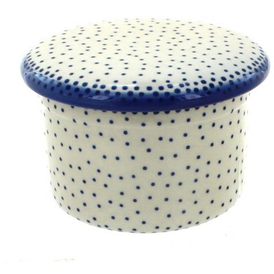 Blue Rose Polish Pottery Small Dots French Butter Dish