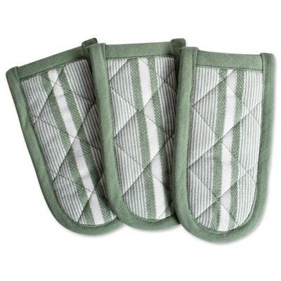 3pk Cotton Striped Chef Pan Handles Green - Design Imports