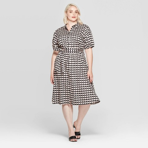 Women's Plus Size Elbow Sleeve Collared Dress - Who What Wear™ Black - image 1 of 3