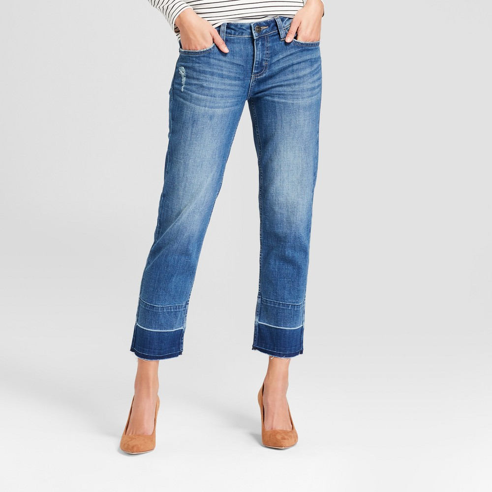 Crafted by Lee Women's Drop Hem Mid-Rise Crop Jeans - Medium Wash 4, Blue