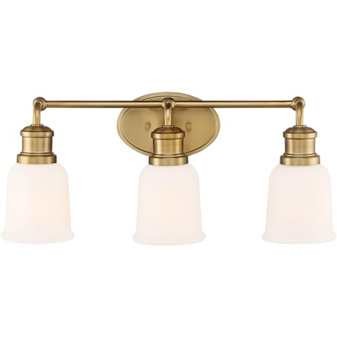 Possini Euro Design Industrial Wall Light Soft Gold Hardwired 21 3 4 Wide 3 Light Fixture Opal Glass For Bathroom Vanity Mirror Target