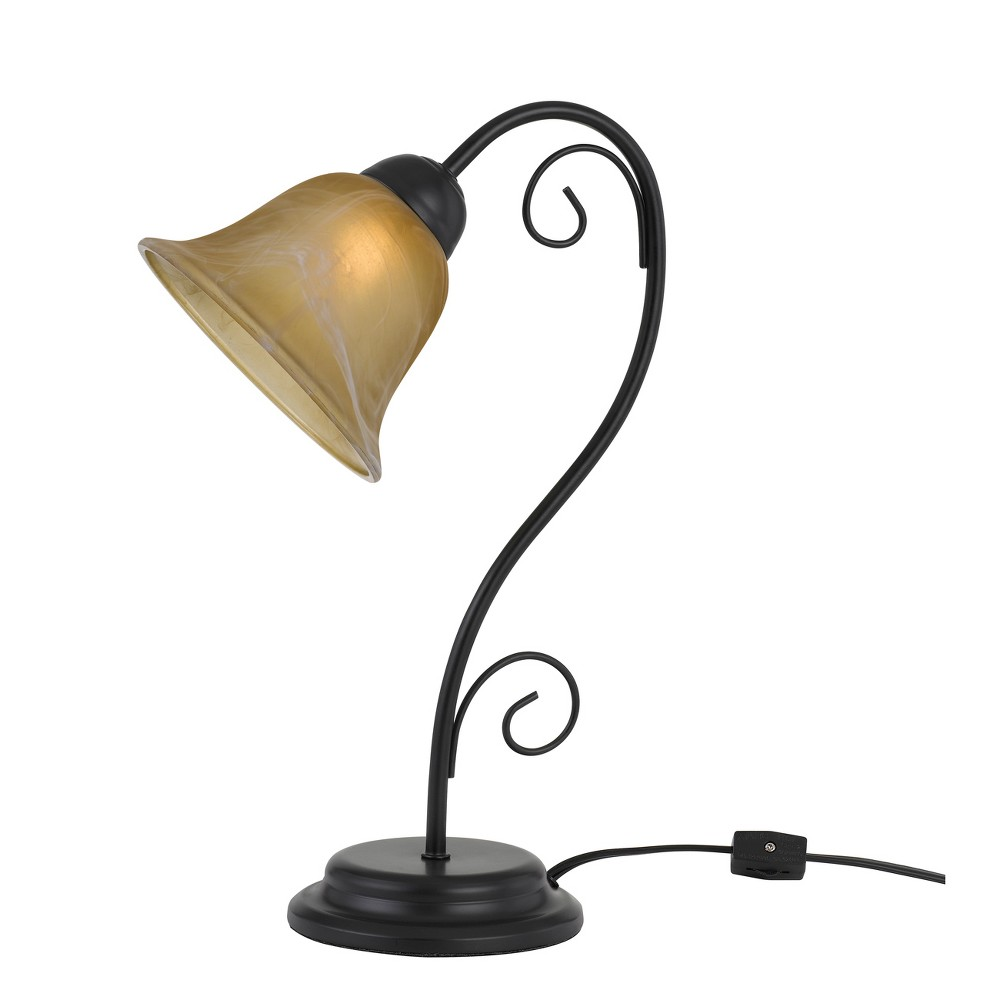Cuneo Metal Accent Lamp With Glass Shade Black 6.8
