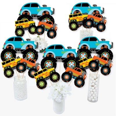 Big Dot of Happiness Smash and Crash - Monster Truck - Boy Birthday Party Centerpiece Sticks - Table Toppers - Set of 15