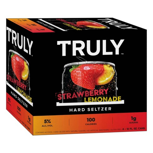 Truly Strawberry Lemonade Hard Seltzer - 6pk/12 Fl Oz Slim Cans : Target