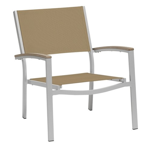 Travira Set of 4 Patio Chat Chairs - Cocoa Sling - Powder Coated Aluminum Frame - Tekwood Vintage Armcaps - Oxford Garden - image 1 of 1