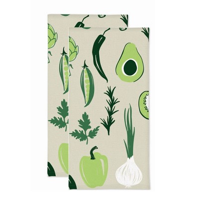 2pk Vegetable Print Kitchen Towel - MU Kitchen