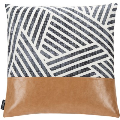 "Parla Pillow - Black/White/Tan - 18"" X 18"" - Safavieh"