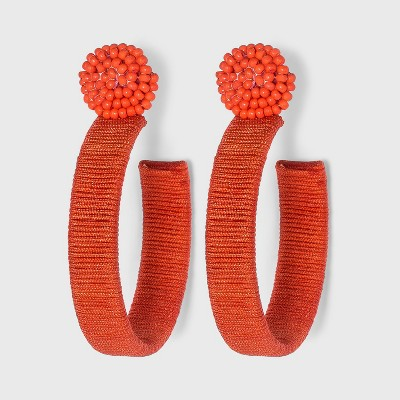 Seed Bead Post with Thread Wrapped Hoop Earrings - A New Day™