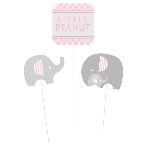 Elephant Girl Pink Centerpiece Sticks Little Peanut Decoration Baby Shower Party