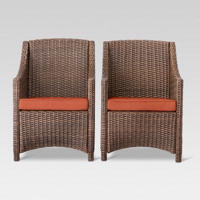 Belvedere 2pk All-Weather Wicker Patio Dining Chairs - Orange - Threshold™