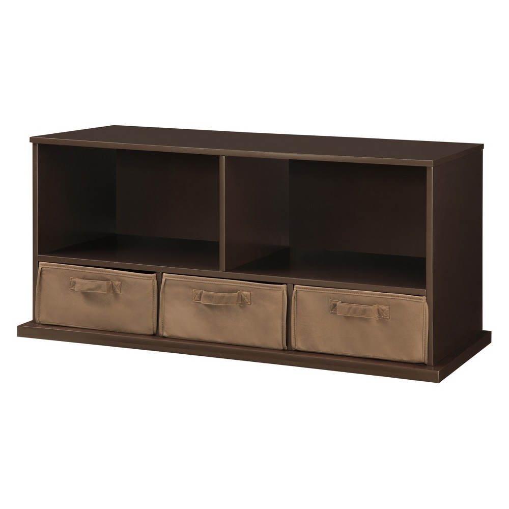 Image of Badger Basket Stackable Shelf Storage Cubby with Three Baskets Espresso Brown