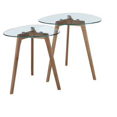 Clearview Nesting End Tables   Natural / Glass   Johar Furniture