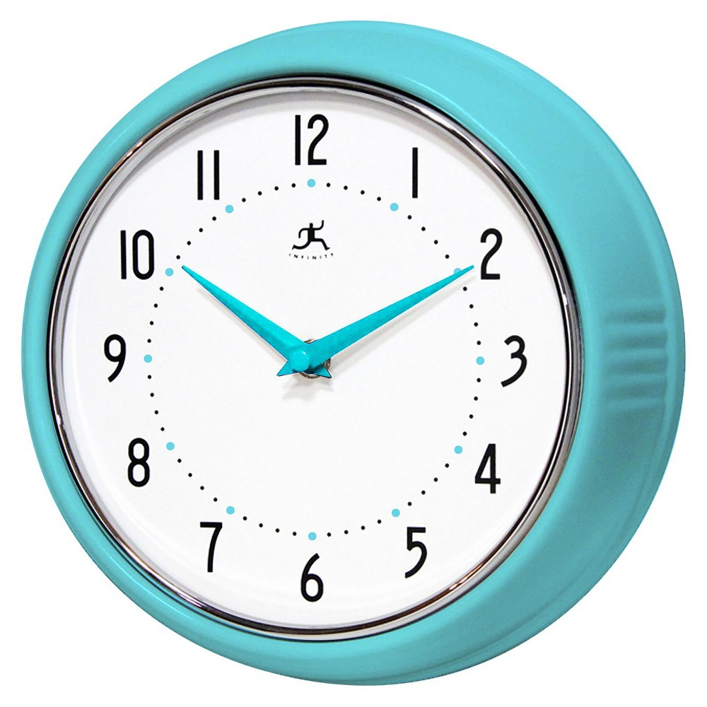 Image of 9.5 Solid Iron Wall Clock Turquoise - Infinity Instruments