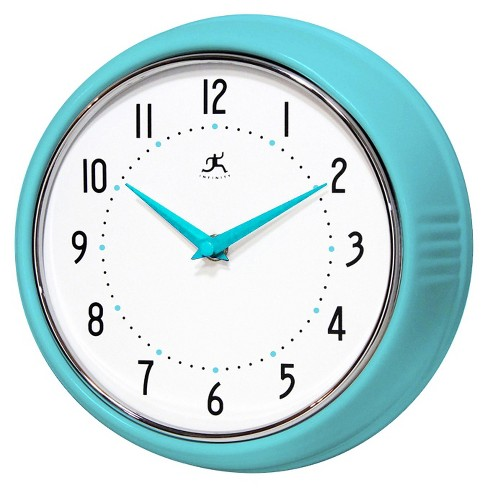 "9.5"" Solid Iron Wall Clock Turquoise - Infinity Instruments - image 1 of 2"