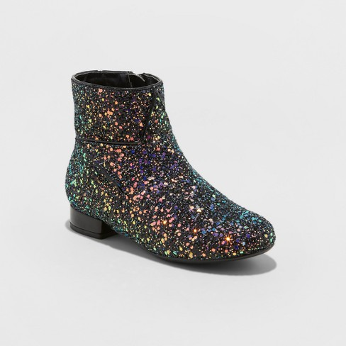 Girls' Lexi Glitter Ankle Fashion Boots - art class™ Black - image 1 of 3