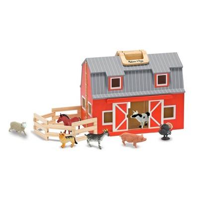 Melissa & Doug Fold and Go Wooden Barn Play Set - 10pc