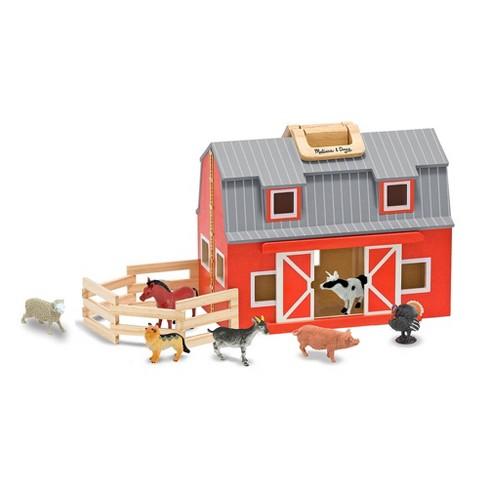 Melissa & Doug Fold and Go Wooden Barn Play Set - 10pc - image 1 of 4