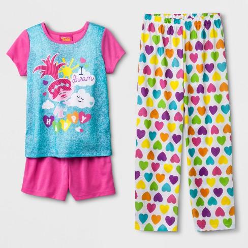 Girls' Trolls 'I Dream Happy' 3pc Pajama Set - Pink 10 - image 1 of 1