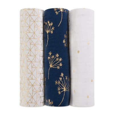 Aden + Anais Swaddles 3pk - Metallic Gold Deco - Navy
