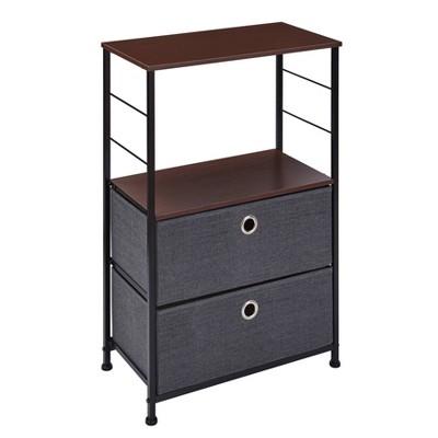 Modern 2 - Tier Decorative Bookshelf/Dresser Storage with Fabric Drawers Gray - Danya B.