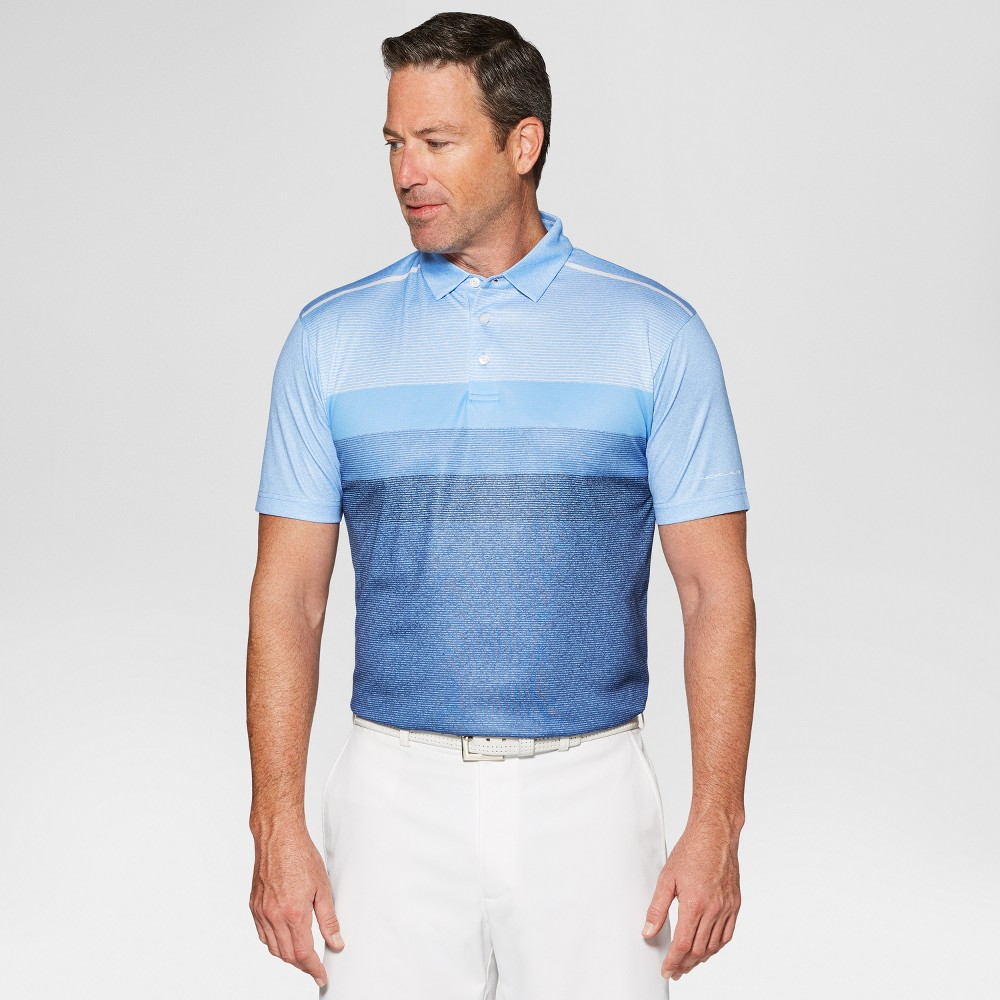 Image of Jack Nicklaus Men's Fade Striped Golf Polo Shirt - Vista Blue Heather L, Size: Large, Vista Blue Grey