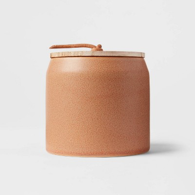 12oz Lidded Ceramic Wooden Wick Pumpkin Spice Candle - Threshold™