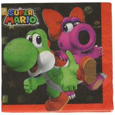 Amscan Super Mario Bros. Beverage Napkins, 16 Count