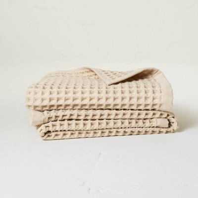 2pk Waffle Hand Towel Set Sand - Casaluna™