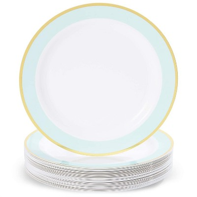 Sparkle and Bash 24-Pack Mint Green Party Supplies, Disposable Plastic Dinner Plates with Gold Rim, Dinnerware Set 9""