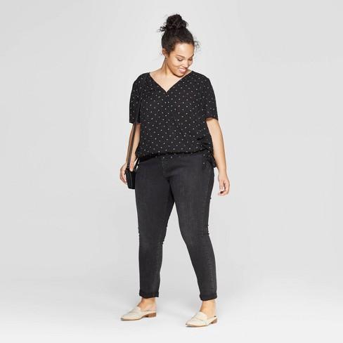d940e7836aec Women's Plus Size Floral Print Short Sleeve V-Neck Wrap Top - Universal  Thread™ Black. Shop all Universal Thread