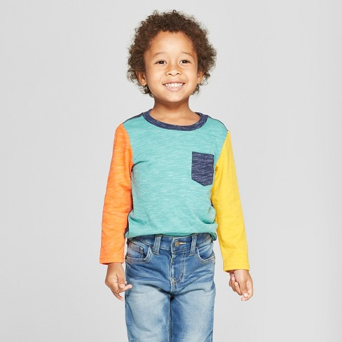 e308f6c3c5 Toddler Boys' Long Sleeve Raglan T-Shirt - Cat & Jack™ Teal/Navy 4T ...