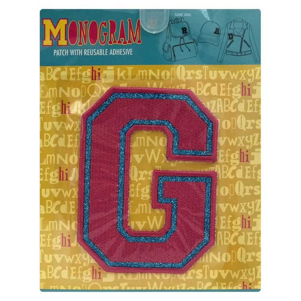 Fashion Assorted Letters G Patch With Reusable Adhesive, Pink