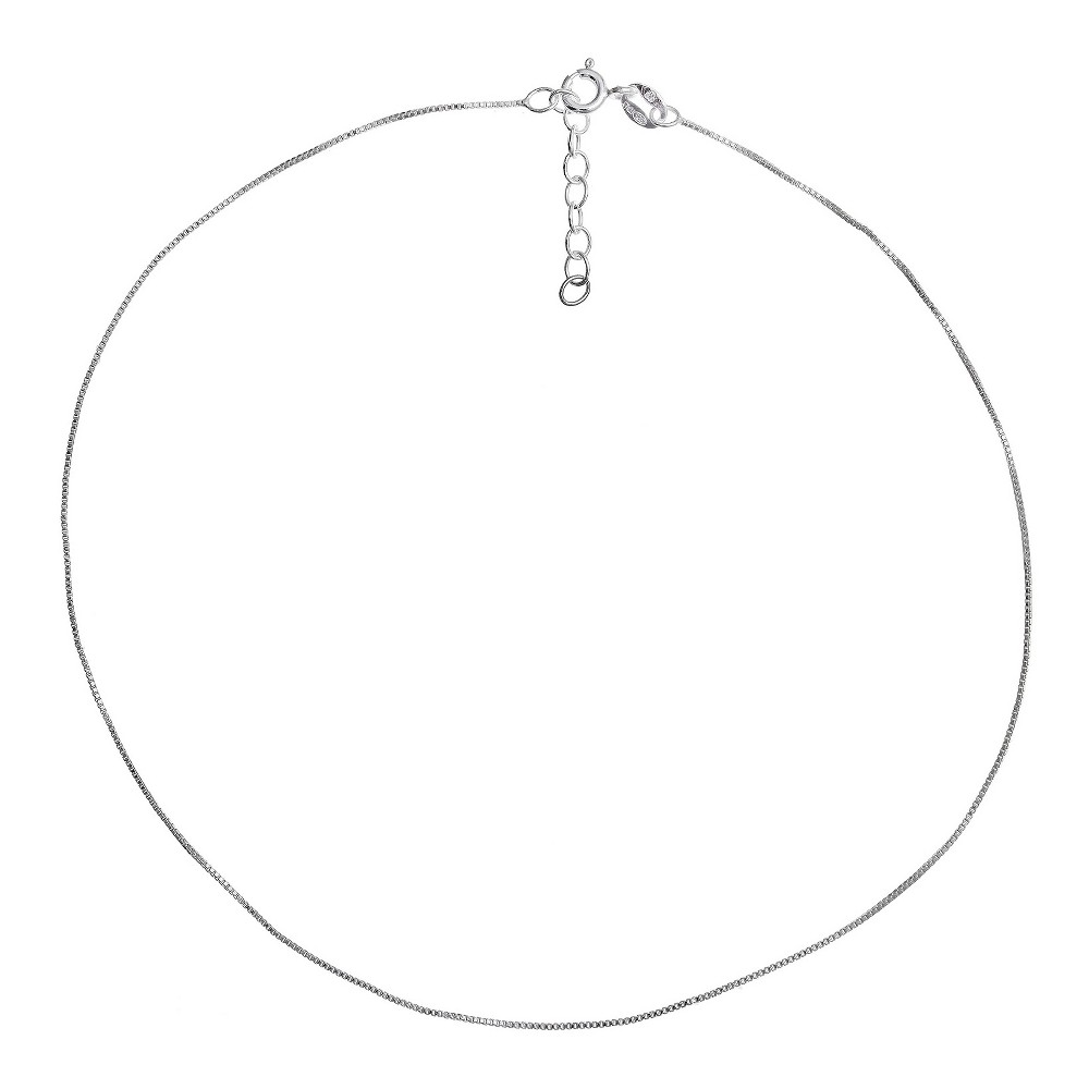 """Image of """"Women's Box Chain Anklet with Extender in Sterling Silver - Silver (9""""""""+1""""""""), Size: Small"""""""