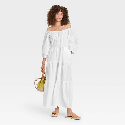 Women's Puff 3/4 Sleeve Tiered Dress - Universal Thread™
