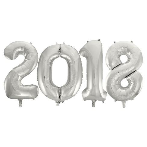 Jumbo Silver Foil Balloons - 2018 - image 1 of 1