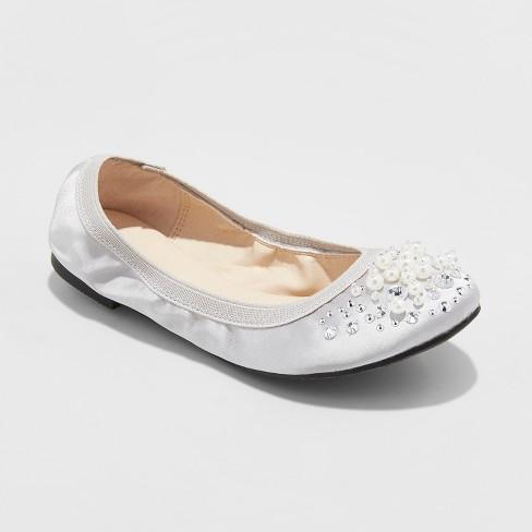 f3fb096f6e547 Girls  Stevies TGIF Embellished Scrunch Ballet Flats - Silver 13   Target