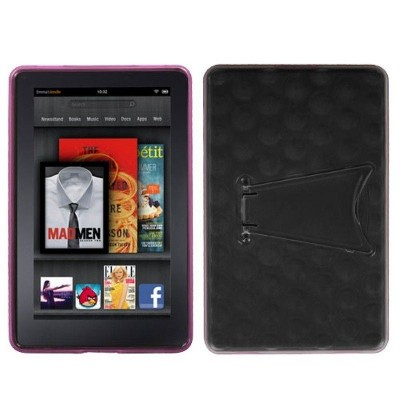 MYBAT For Amazon Kindle Fire 1st Gen (2011) Clear Hot Pink TPU Matte Case w/stand