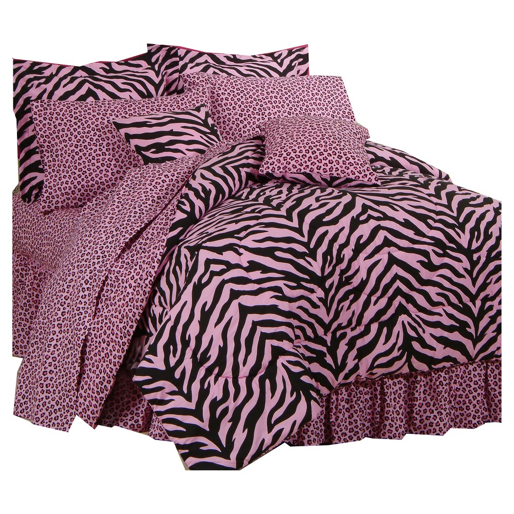 Image of Pink Zebra Print Multiple Piece Comforter Set (Twin Extra Long) 6 Piece - Karin Maki