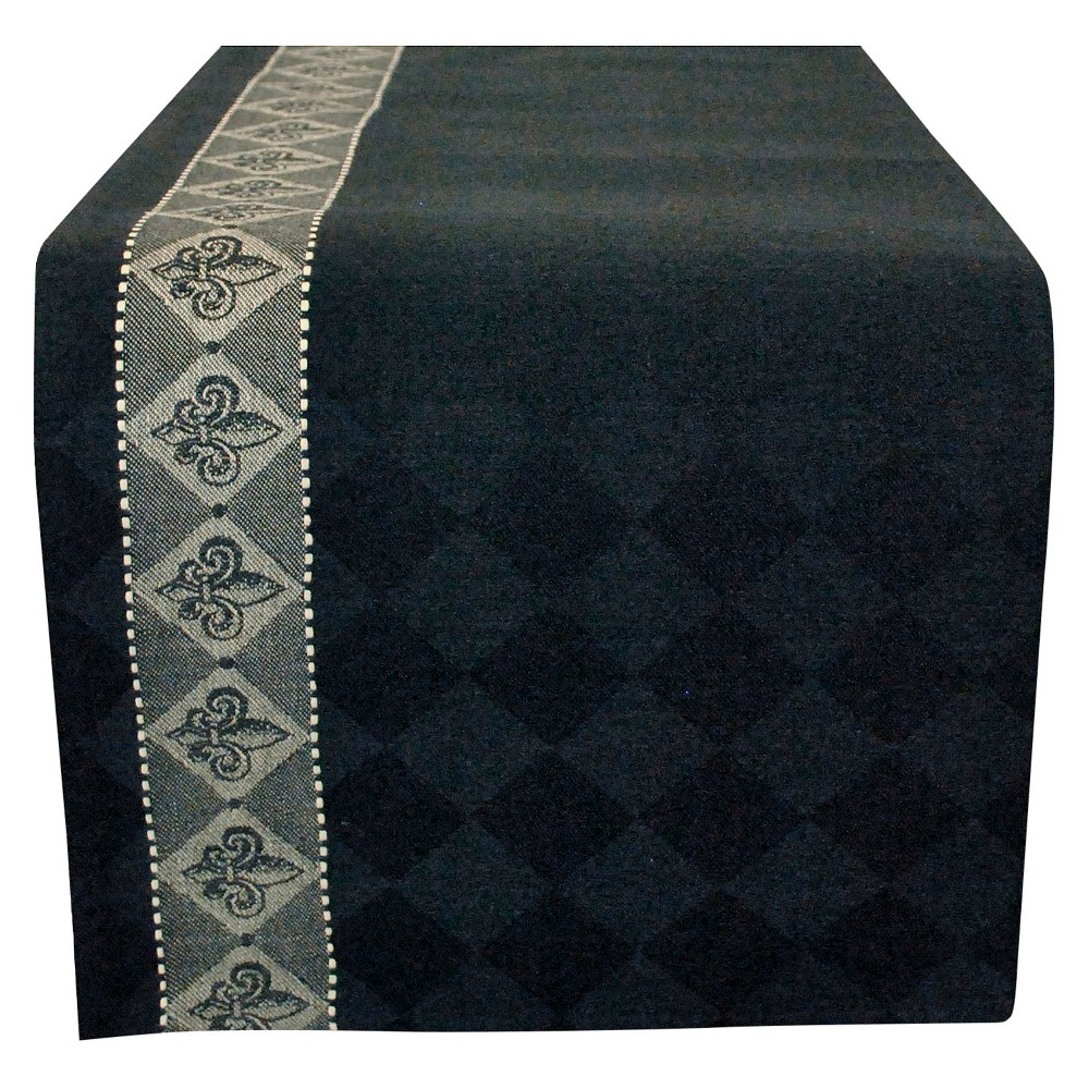72 x13  Jacquard Fleur Dis Lis Table Runner Black - Design Imports, Multicolored Even if your dining room is only used for special occasions, you can keep it stylish all the time with the addition of this Table Runner Jacquard Fleur Dis Lis by Design Imports. The jacquard design is intricate and crafty. The muted color will look great even if it is displayed all year long. With a dark color serving as the backdrop for the checkered motif, this table runner is easy to coordinate with a variety of dishware colors and styles. Color: Multicolored. Pattern: Fleur de Lis.