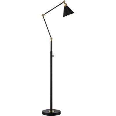 360 Lighting Mid Century Modern Pharmacy Floor Lamp Flat Black Antique Brass Adjustable Swivel Head Living Room Reading Bedroom